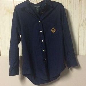Vintage Ralph Lauren Navy Blouse